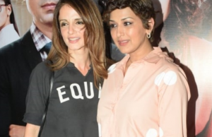 Spotted Sussanne Khan and sonali bendre at goldie behl's debut