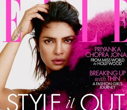 Priyanka Chopra Jonas on the cover of Elle UK magazine