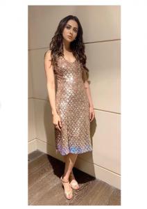 Rakul Preet looks raashing ingold thigh-slit embellished dress