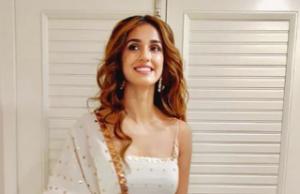 Disha Patani looks elegant in white and golden sharara