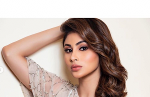 Mouni Roy looks breathtaking in this champagne one-shoulder gown